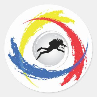 Sporttauchen-Tricolor Emblem Runder Aufkleber