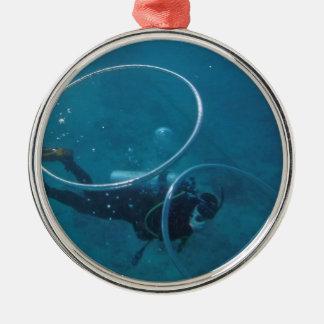 Sporttaucher Silbernes Ornament