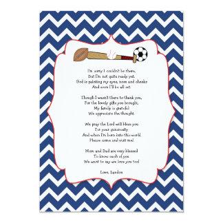 Sportthema-Babyparty-Geschenk GEDICHT danken Ihnen 12,7 X 17,8 Cm Einladungskarte