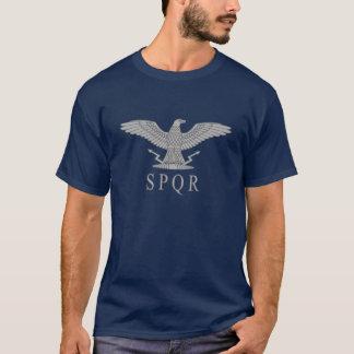 SPQR Adler-Silber-Dunkelheits-T - Shirt