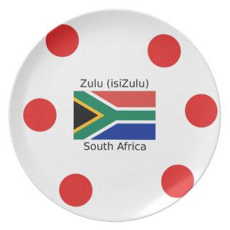 Sprache des Zulu-(isiZulu) und Südafrika-Flagge Melaminteller