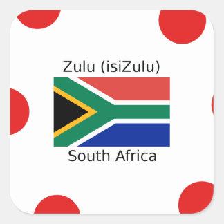 Sprache des Zulu-(isiZulu) und Südafrika-Flagge Quadratischer Aufkleber