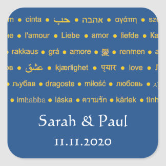 Sprachen der Liebe Quadrat-Aufkleber