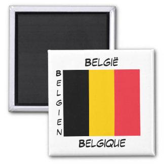 Sprachflaggen-Quadrat-Magnet Belgiens belgischer Quadratischer Magnet
