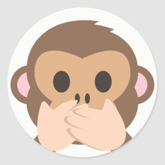 Sprechen-Kein-Übel Affe Emoji Runder Aufkleber