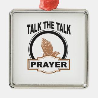 sprechen Sie das Gesprächsgebet ja Silbernes Ornament