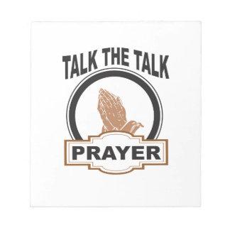 Sprechen Sie das Gesprächsgebet Notizblock