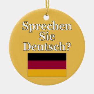 Sprechen Sie Deutsches? auf Deutsch. Flagge Rundes Keramik Ornament