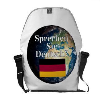Sprechen Sie Deutsches? auf Deutsch. Flagge u. Kurier Tasche