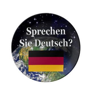 Sprechen Sie Deutsches? auf Deutsch. Flagge u. Teller Aus Porzellan