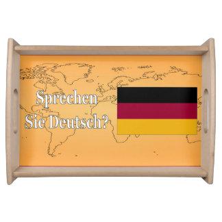 Sprechen Sie Deutsches? auf Deutsch. Flagge wf Tablett