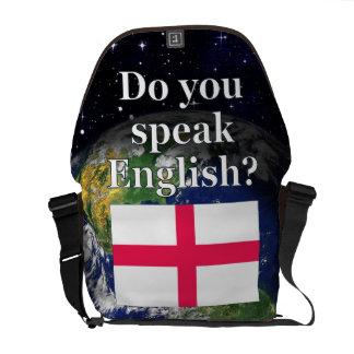 Sprechen Sie Englisch? auf englisch. Flagge u. Kuriertasche