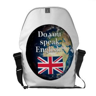 """""""Sprechen Sie Englisch? """"auf englisch. Flagge u. Kuriertasche"""