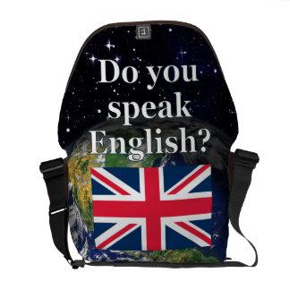 """""""Sprechen Sie Englisch? """"auf englisch. Flagge u. Kuriertaschen"""