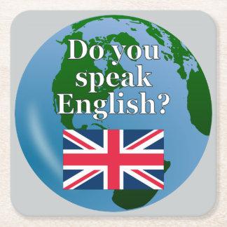 """""""Sprechen Sie Englisch? """"auf englisch. Flagge u. Rechteckiger Pappuntersetzer"""