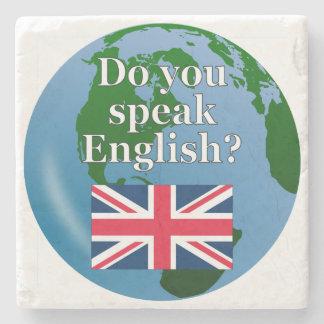 """""""Sprechen Sie Englisch? """"auf englisch. Flagge u. Steinuntersetzer"""