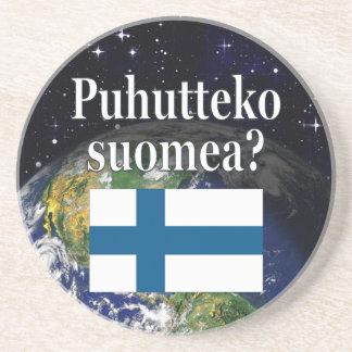 Sprechen Sie finnisches? auf finnisch. Flagge u. Sandstein Untersetzer