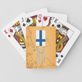 Sprechen Sie finnisches? auf finnisch. Flagge wf Spielkarten
