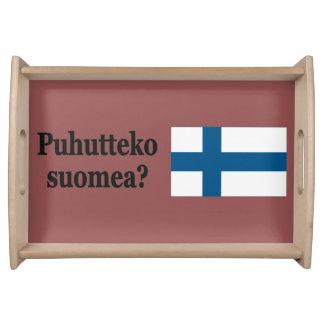 Sprechen Sie finnisches? auf finnisch. Flaggen-BF Serviertablett