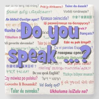 Sprechen Sie…? Fragen- und Hintergrundblau Steinuntersetzer