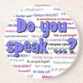 Sprechen Sie…? Fragen- und Hintergrundblau Untersetzer