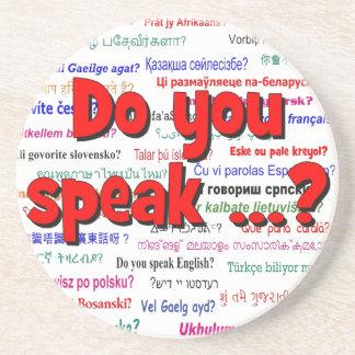Sprechen Sie…? Fragen- und Hintergrundrot Sandstein Untersetzer