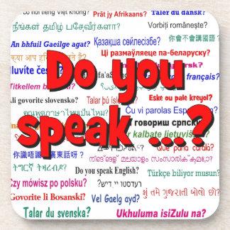 Sprechen Sie…? Fragen- und Hintergrundrot Untersetzer