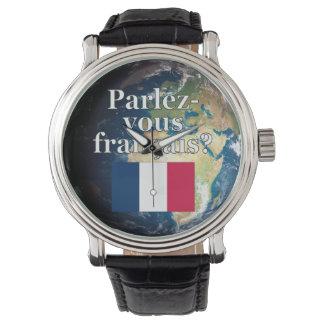 Sprechen Sie französisch? auf französisch. Flagge Armbanduhr