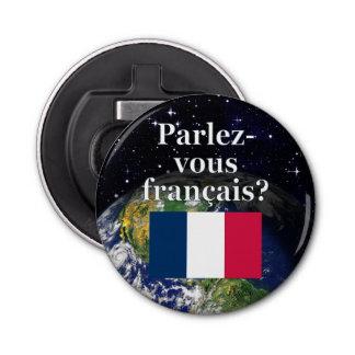 Sprechen Sie französisch? auf französisch. Flagge Runder Flaschenöffner