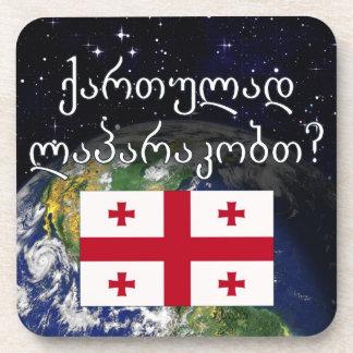 Sprechen Sie georgisches? in georgischem. Flagge Getränkeuntersetzer