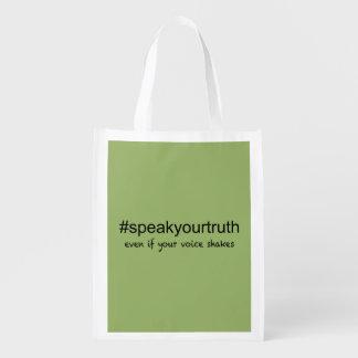 Sprechen Sie Ihre Wahrheit Wiederverwendbare Einkaufstasche