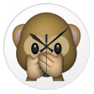 Sprechen Sie keinen schlechten Affen - Emoji Große Wanduhr