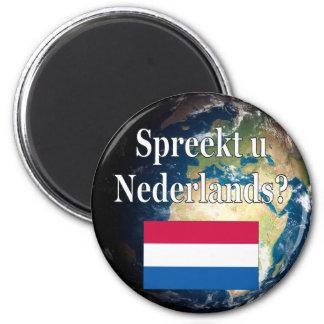 Sprechen Sie Niederländisch? auf Holländer. Flagge Runder Magnet 5,7 Cm