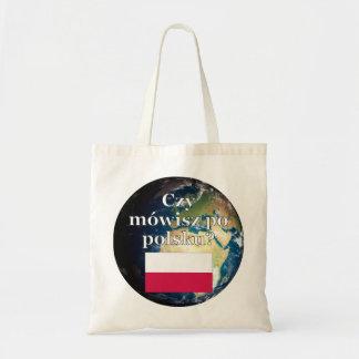 Sprechen Sie Polnisches? auf Polnisch. Flagge u. Tragetasche