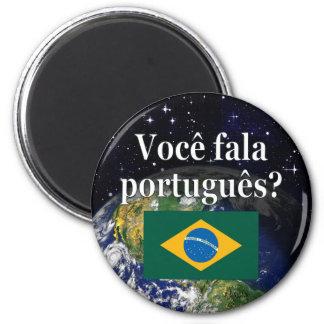 Sprechen Sie Portugiesen? auf portugiesisch. Runder Magnet 5,7 Cm