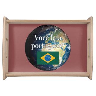 Sprechen Sie Portugiesen? Portugiesisch. Flagge u. Serviertablett