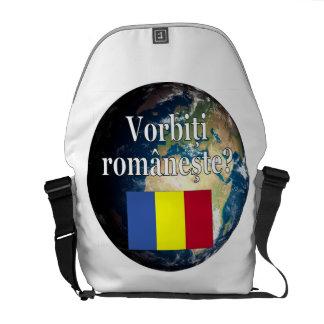 Sprechen Sie Rumänen? auf Rumänen. Flagge u. Erde Kurier Tasche