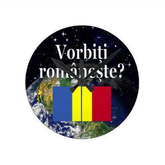 Sprechen Sie Rumänen? auf Rumänen. Flagge u. Erde Runde Wanduhr