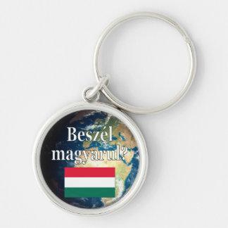 Sprechen Sie Ungarn? auf Ungarn. Flagge u. Erde Schlüsselanhänger