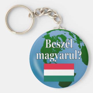 Sprechen Sie Ungarn? auf Ungarn. Flagge u. Kugel Schlüsselanhänger