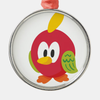 sprechenvogelgehen rundes silberfarbenes ornament