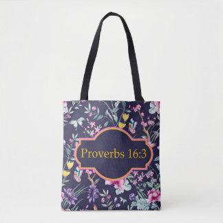 Sprichwort-16:3 Bibel-Vers-BlumenTasche Tasche