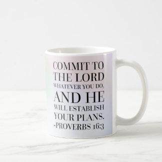 Sprichwort-16:3 Bibel-Zitat Kaffeetasse