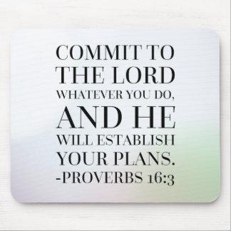 Sprichwort-16:3 Bibel-Zitat Mauspad