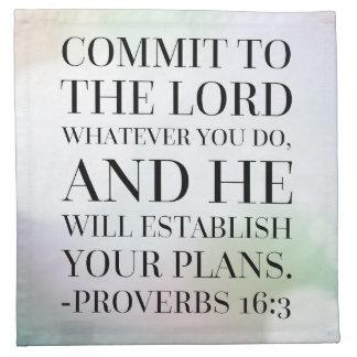 Sprichwort-16:3 Bibel-Zitat Serviette