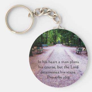 Sprichwort-16:9 inspirierend Bibel-Vers Schlüsselanhänger
