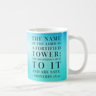 Sprichwort-18:10 Bibel-Zitat Kaffeetasse