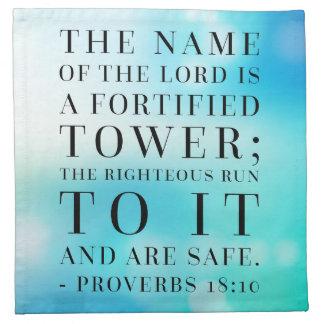 Sprichwort-18:10 Bibel-Zitat Stoffserviette