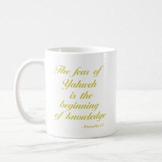 Sprichwort-1:7 % pipe% Gelb des Bibel-Vers-| Kaffeetasse