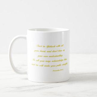 Sprichwort-3:5 - 6% pipe% Gelb des Bibel-Vers-| Kaffeetasse